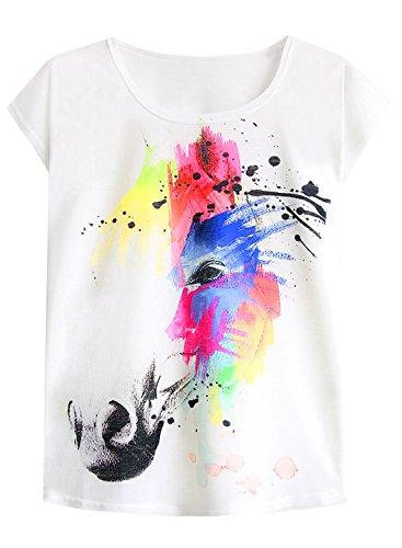 futurino Women's Dream Mysterious Horse Print Short Sleeve Tops Casual Tee Shirt (XL, Multicolored) ()
