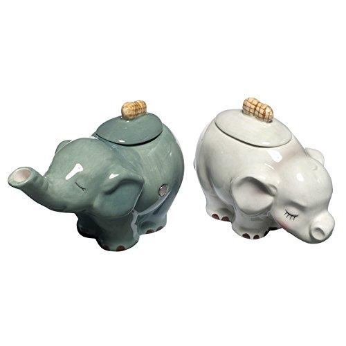 Elephant Sugar - 3 Inch White and Brown Ceramic Elephant Figurines For Cream and Sugar