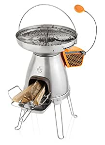 BioLite BaseCamp- Large Format Wood Burning Camp Stove with Cooktop and Grill, Converts Heat into 5W Electricity for USB Device Charging, 138 Square Inch Top, 21 x 13 x 23 Inches, Silver/Yellow (BCA)