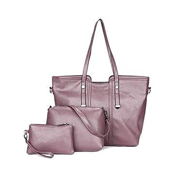 Bolso de la mujer 3 pedazos, Bolso de cuero PU + Bolso de hombro + Cartera-Púrpura: Amazon.es: Equipaje