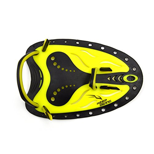 Swim Training Paddles/Hand Paddle, Freehawk® Water Resistance Contoured Swimming Training Aid Power Paddles Large Flat Paddle Hand Fins for Men Woman Boys Girls Kids Youth Adult (Yellow, Small)