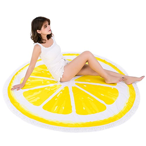 Round Beach Towel (30 Options) Oversize Colorful Girl's Beach Blanket 60 Inches Women's Large Microfiber Towels Yoga Mat With Tassels Multi Purpose Beach Throw - Lemon 01 by Redonis