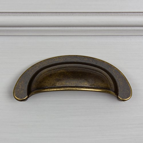 GlideRite Hardware 87600-AB-25 2.5 inch Cc Small Antique Brass Cabinet Cup Bin Pulls 25 Pack by GlideRite Hardware (Image #2)