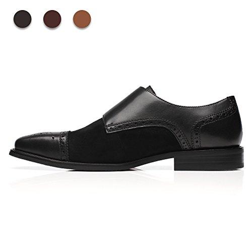 La Milano Heren Leren Dubbele Monnik Strap Loafer 3a-zwart