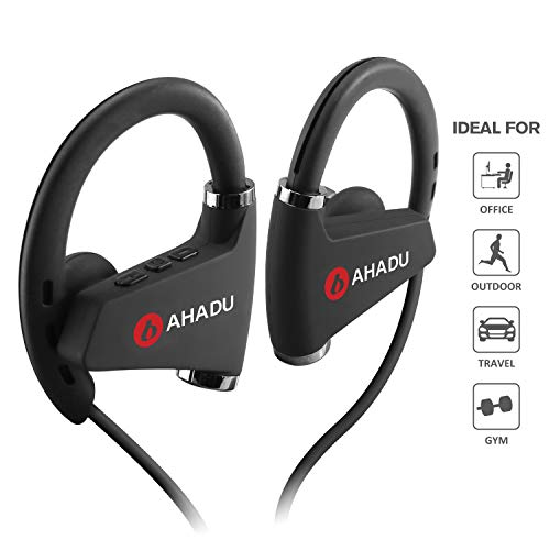 AHADU Bluetooth Headphones, AHBT-102, 2019 Improved Wireless Sports Earphone, Longest Battery Life, Best Noise Cancelling Earbud with Microphone for Gym Workout Running, 16 Hrs Battery Life