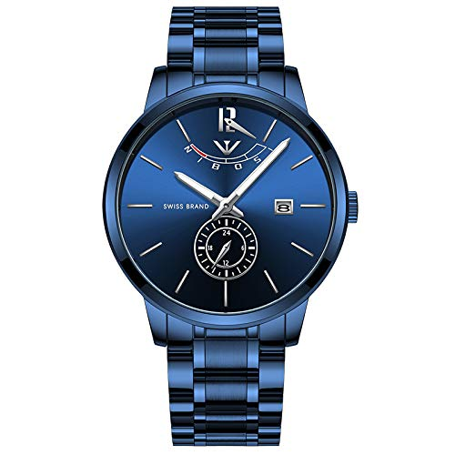 41mIHW%2BgyWL. SS500  - NIBOSI Mens Analogue Quartz Watch with Stainess Steel Strap Top Brand Luxury Business Quartz Watch Men Full Steel Fashion Waterproof (Blue)