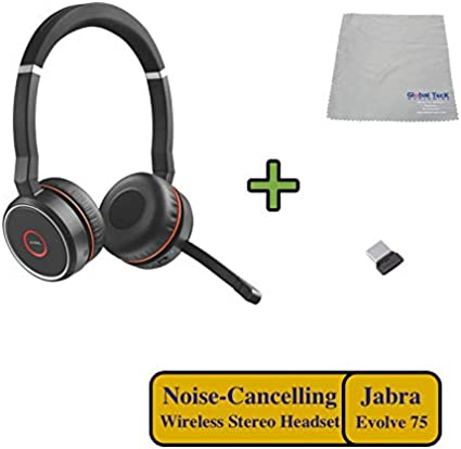 Amazon Com Jabra Evolve 75 Bluetooth Headset Bundle W Bonus Wall Charger Usb Dongle 7599 832 109 B Pc Mac Compatible For Dragon Softphones Smartphones Tablet Pc Microsoft Certified Skype Cisco Avaya Home Audio Theater