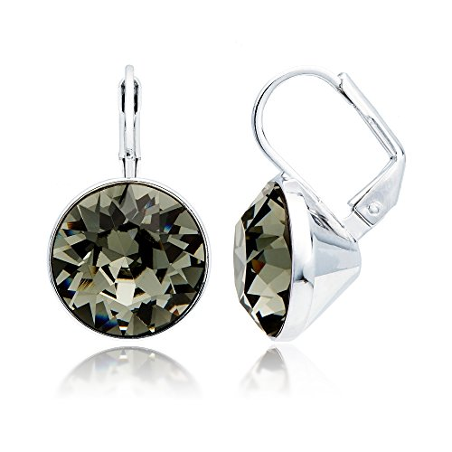 Swarovski Bella Earrings Pierced (MYJS Bella Drop Earrings Rhodium Plated with Black Diamond Swarovski Crystals Exclusive Limited Edition)