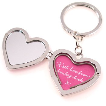 mirror and locket love heart keyring amazon co uk kitchen home