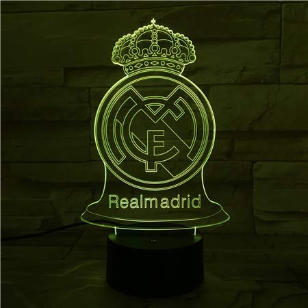 WoloShop Lampara LED Real Madrid Cambia Color USB Luz Nocturna