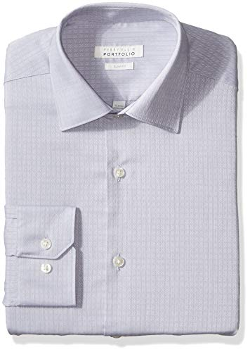 Perry Ellis Men's Slim Fit Wrinkle Free Dress Shirt, Light Grey Dobby, 34/35 16.5 (Cotton Dobby Dress Shirt)