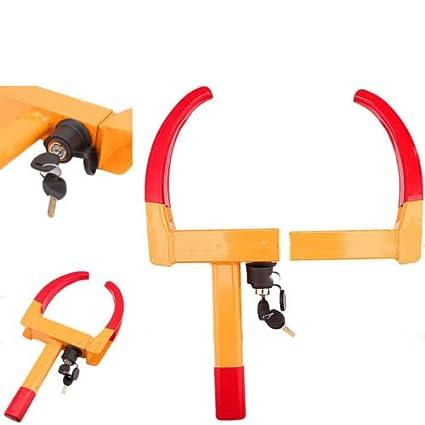 Yosoo Universal Lock de Rueda Bloqueo de Neum/áticos de Caravana Coche Autom/óvil Tr/áiler Abrazadera de Acero de Rueda para Seguridad con 2 Llaves