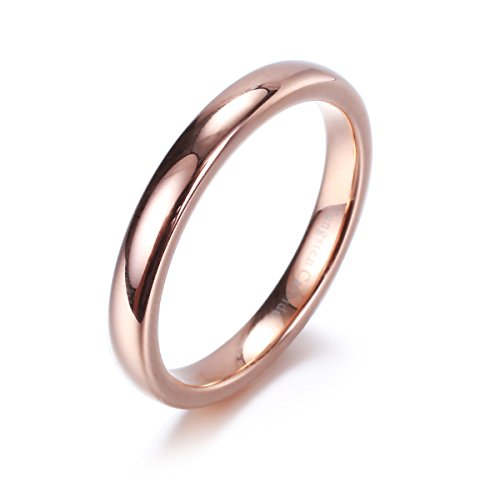 NaNa Chic Jewelry 3mm Tungsten Carbide Ring Domed Wedding Band Rose Gold Plated Comfort Fit(5.5)