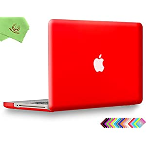 "UESWILL Smooth Soft-Touch Matte Frosted Hard Shell Case Cover for MacBook Pro 13"" with CD-ROM (Non-Retina)(Model:A1278)+ Microfibre Cleaning Cloth, Red"