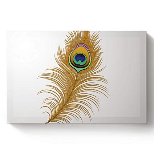 Fandim Fly Creative Art Paintings Canvas Oil Paintings Gatsby of Golden Peacock in Feather Abstract Artwork Pattern Wood Stretched Home Decor Ready to Hang 16x24inch -