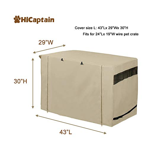 HiCaptain Polyester Dog Crate Cover, Durable Windproof Pet Kennel Cover Provided for Wire Crate Indoor Outdoor Protection (42 Inch, Tan) by HiCaptain (Image #1)