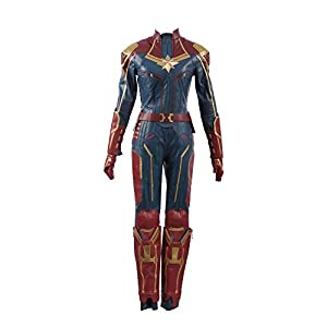Captain Marvel Carol Danvers Superhero Cosplay Costume Leather Outfit(in Stock)
