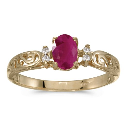 14k Yellow Gold Oval Ruby And Diamond Filagree Ring (Size 7)