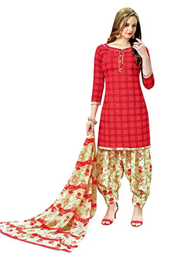 Ladyline Womens Cotton Salwar Kameez Printed with Patiala Salwar & Chiffon Dupatta