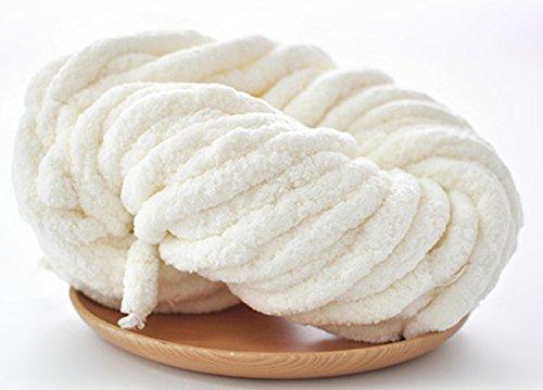 HomeModa Studio Chenille Chunky Knit Yarn Chunky Knit Yarn, Chenille, Arm Knitting, Giant Bulky Knit, Vegan Yarn, Chunky Knit, Throw Bedding Chunky Yarn, Jumbo Yarn (white, 1kg) price tips cheap