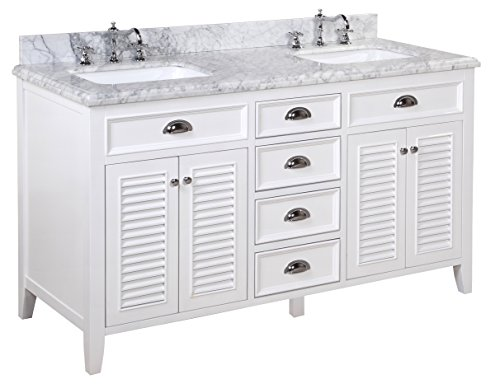 41mIK2VnJsL - Kitchen Bath Collection KBC-SH602WTCARR-D Savannah Double Sink Bathroom Vanity with Marble Countertop, Cabinet with Soft Close Function and Undermount Ceramic Sink, Carrara/White, 60""