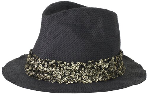 San Diego Hat Women's Sequin Fedora Hat, Black, One Size