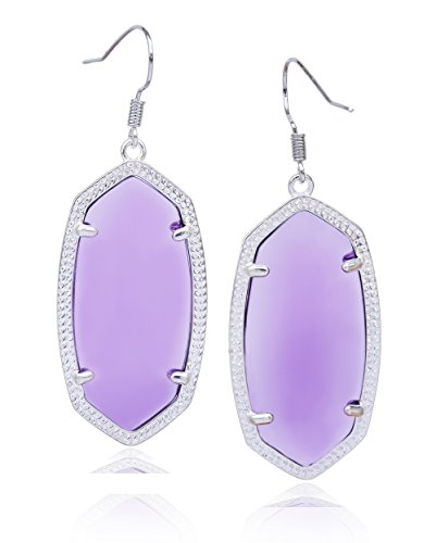 Faceted Gemstone Drop - Fashion Metal Oval Crystal Quartz Drop Dangle Earrings for Women (Silver(Amethyst))
