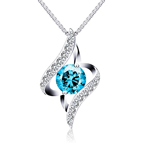J.Rosée Necklace with 925 Sterling Silver Oval Cut Blue Cubic Zirconia Twist Pendant Necklace 18