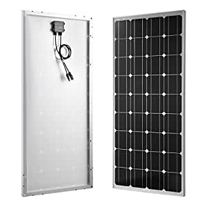 100W Solar Panel Monocrystalline+12/24V 10A Charge Controller with Battery Fuse + MC4 Connectors + Mounting Z Brackets for Off-Grid 12/24 Volt Battery System 100 Watts 12 Volts