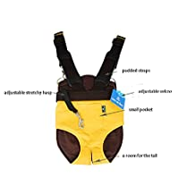 Strimm Comfort Legs Out Front Facing Backpack Style Pet Shoulder Carrier Bag for Small Dog Puppy Cat Kitten,Great for Travel,Hiking,Biking-Yellow Size S