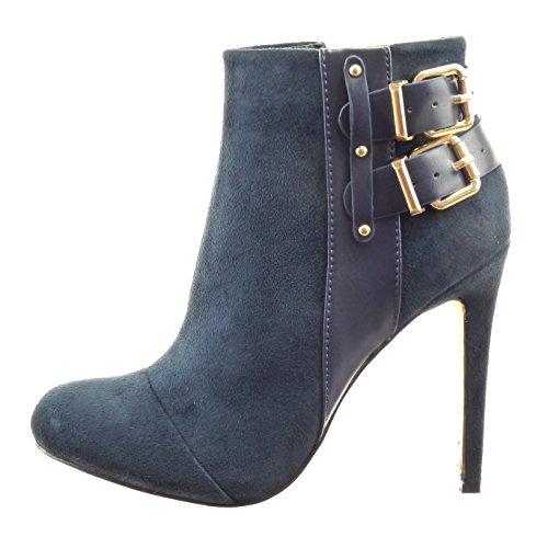 Sopily - damen Mode Schuhe Stiefeletten Stiletto Low boots Nieten - besetzt String Tanga Schleife - Blau