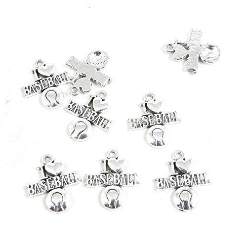 180 Pieces Antique Silver Tone Jewelry Making Charms Pendant Findings Craft Supplies Bulk Lots Arts K3FA6 I Love Baseball (Baseball 180)