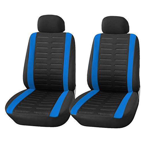🥇 Upgrade4cars Fundas Asientos Delanteros Coche Universales Negro y Azul | Protector de Asiento Delantero para Conductor y Copiloto | Accesorios Interior para Mujer y Hombre