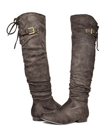 DREAM PAIRS Women's Colby Brown Over The Knee Pull On Boots - 10 M US (Chocolate Boots 10')