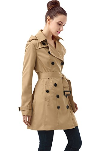 BGSD Women's Leah Hooded Mid Length Trench Coat - Tan XL ()