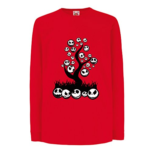 lepni.me T-Shirt for Kids The Nightmare Tree - Halloween Party Outfit (9-11 Years Red Multi Color) -