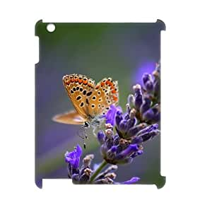 3D IPad 2,3,4 Case butterfly on lavender flower, IPad 2,3,4 Case Butterfly For Girls, [White]