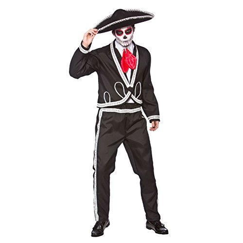 [Adult Deluxe Mariachi - Day Of The Dead Halloween Movie Fancy Dress Large] (Dia De Los Muertos Mariachi Costume)