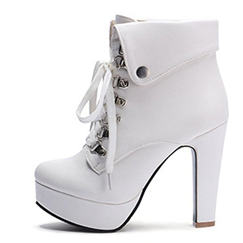 Women's Decoration Round Fashion Kaloosh Metallic Ankle High Boots Toe Heels Boots ZwdR6qM6a