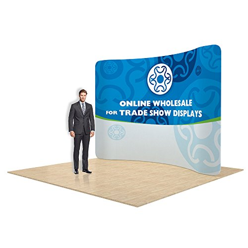 10ft Curved Portable Tension Fabric Wall, Graphics Included, Single Sided, New Pop Up Banner Stand for Trade Show Display by Ving