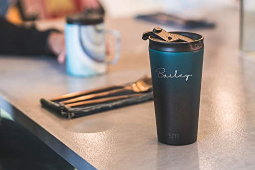 Simple Modern Personalized Gift Tumbler Custom, Classic 16oz - Straw & Flip Lid, Pattern: Wood Grain