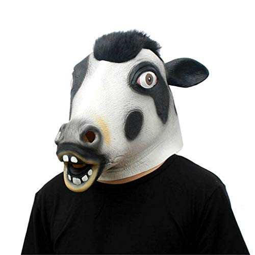 QIAO Halloween Props Cows Animal Masks Cosplay Party Tidy Latex Props Fancy Dress Headgear (Color : A) -