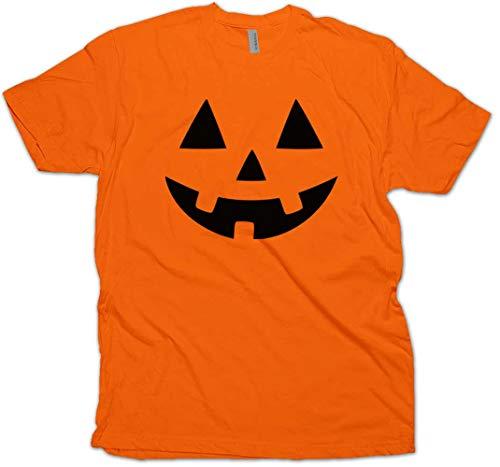 Jack O' Lantern Pumpkin Face Halloween Costume Kid's Youth T-Shirt (Orange Youth Small) -