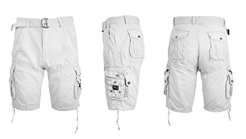(Galaxy by Harvic Mens Cargo Shorts Cotton Belted Vintage Distressed Lounge (White, 32) )