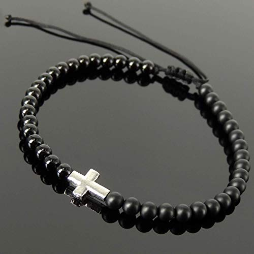 Bright and Matte Black Onyx Healing Gemstones Handmade Adjustable Braided Bracelet Men's Women's Cross Jewelry, Courage, 4mm Beads, Genuine Non-Plated 925 Sterling Silver, FREE Gift Box ()