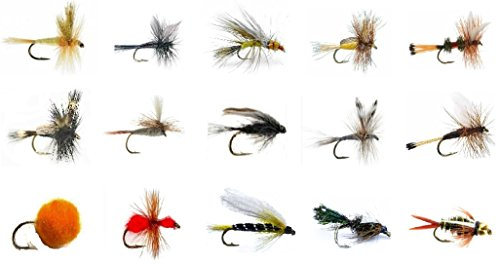 Panfish Classic Fish (Fly Fishing Lures Set - Wet and Dry Variety for Trout and Freshwater Fish - 15 Classic Patterns - Nymphs, Attractors, Streamers, Egg, Ant, and More (15))