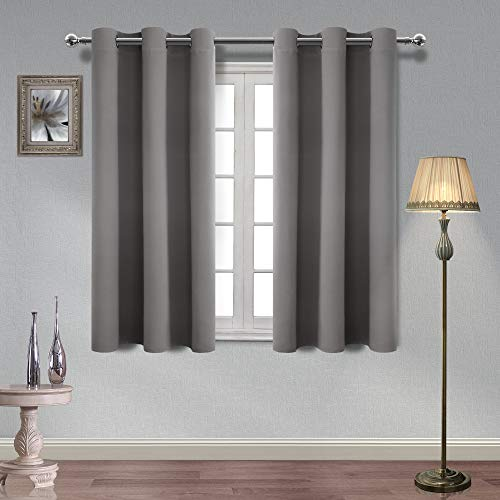 Homedocr Thermal Insulated Blackout Curtains Grommet Noise Reducing Room Darkening Window Curtains for Bedroom and Living Room, 42 x 54 Inches, Light Grey, 2 Drape Panels