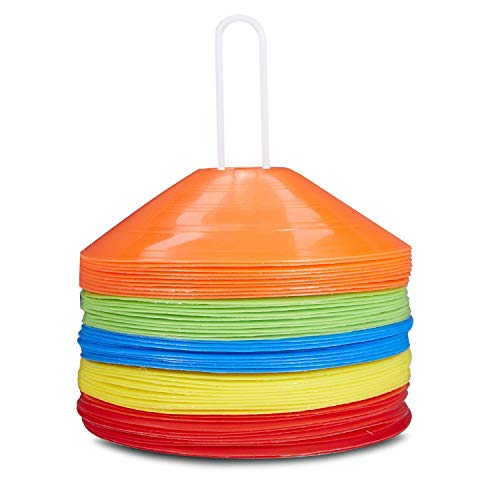 (Pro Disc Cones Agility Soccer Cones Disc Cone Sets(Set of 50) with Carry Bag and Holder for Training,Football, Kids,Sports,Field Cone Markers)