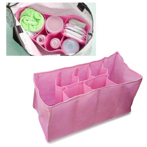 Portátil Bolsa Bolso Organizador Almacenamiento para Pañales de Bebé Pañalera rosa