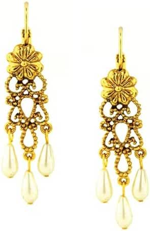 1928 Jewelry Antiquities Couture Filigree Chandelier Faux Pearl Gold Tone Drop Earrings